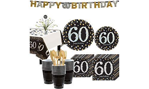 - Party City Sparkling Celebration 60th Birthday Party Kit for 32 Guests, 268 Pieces, Includes Tableware and Decorations