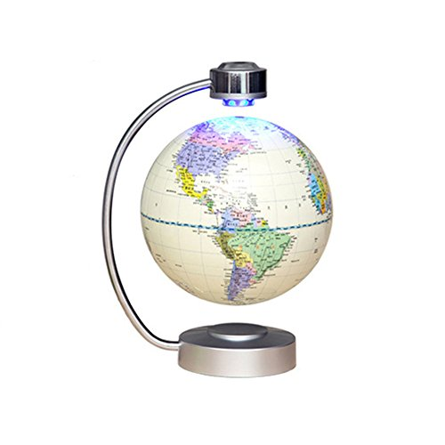 OOFAY Floating Globe Magnetic Floating Globe With LED Light -8 Inch 20Cm Toy Educational Creative Birthday/Christmas/Anniversary/Educational Gifts,White Arctic White Sphere