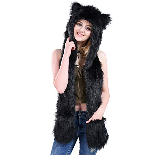 Halloween Costume Black Wolf Animal Anime Hood Cosplay Party with Paws and Ears Zipper Pocket]()