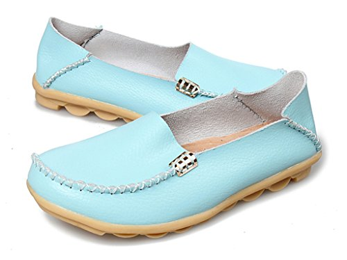 Auspicious beginning Ladies Casual Leather Moccasins Flat Boat Shoes Light Blue czoVHHrv