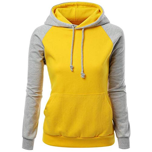 Fenido Women Fashion Casual Long Sleeve Contrast Color Patchwork Loose Hooded Hoodie Fashion Hoodies