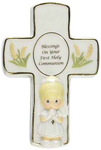 Precious Moments,  Blessings On Your First Holy Communion, Bisque Porcelain Box With Rosary, Girl, 123406 First Communion Cross