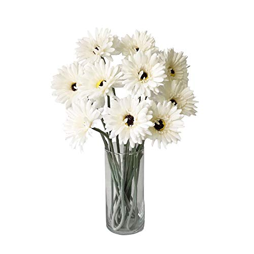 Rae's Garden Artificial Flowers Realistic Fake Flowers Gerbera Daisy Bridal Wedding Bouquet for Home Garden Wedding Party Decorations 10 Pcs (White)