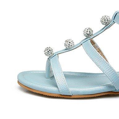 LvYuan Mujer Sandalias Confort Suelas con luz Semicuero Verano Otoño Casual Vestido Confort Suelas con luz Pedrería Hebilla Tacón PlanoBlanco Blue