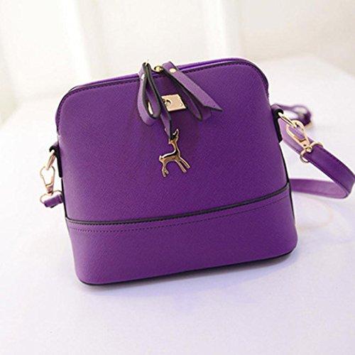 Leather Handbag Shell Bag Purple Small Vintage Messenger Ouneed Women Bags Fahsion BPFfqF