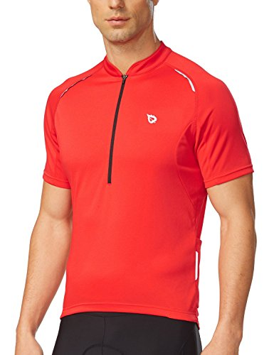 Baleaf Men's Half-Zip Short Sleeve Cycling Jersey Red Size L (T-shirt Jersey Cycling)