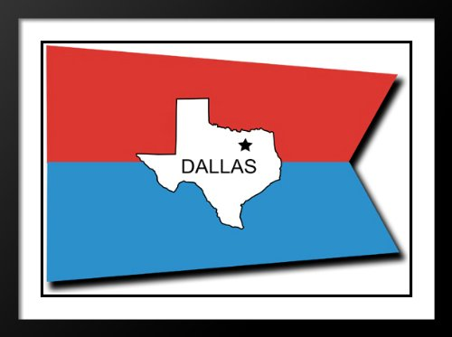 Dallas, Texas Flag Wood 20x23 Framed and Double Matted Photo - Texas Galleria Dallas
