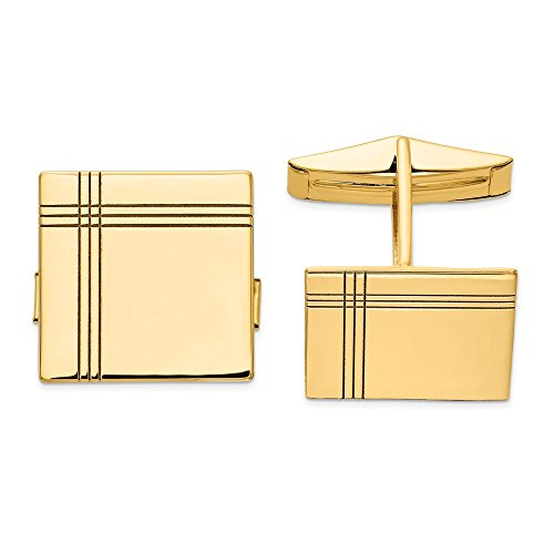 14k Yellow Gold Engravable Cuff (Solid Gold Cufflinks)