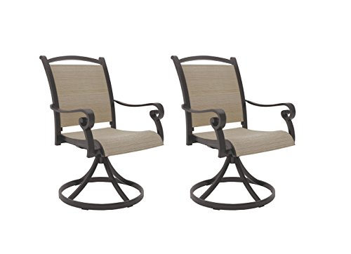 Ashley Furniture Signature Design - Bass Lake Outdoor Sling Swivel Chair - Set of 2 - Rust-Proof Aluminum Frame - Beige & Brown