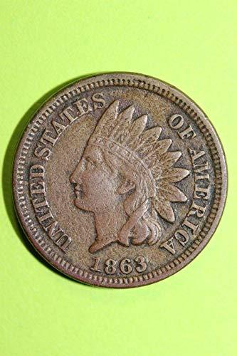 (1863 U.S. Copper Nickel Indian Head Cent Full LIBERTY Full Rim 1c Fine to XF)
