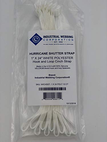 White Polyester 1 X 24 10 Count Hurricane Shutter Strap
