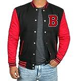 Mens Varsity Jacket - High School Football Jacket | B Red Sleeve | XL
