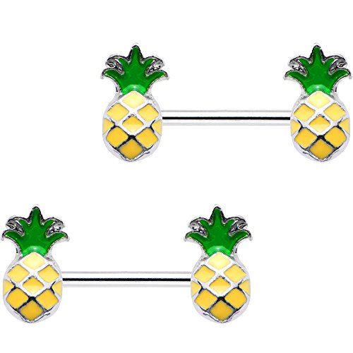 Body Candy Steel Yellow Green Pineapple Barbell Nipple Ring Set of 2 14 Gauge 1/2