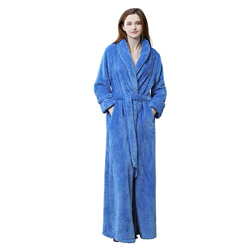 Womens Long Robe Soft Fleece Fluffy Plush Bathrobe Ladies Winter Warm Sleepwear Pajamas Top Housecoat - Minky Teddy
