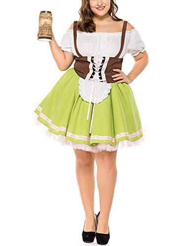 M_Eshop Women's Oktoberfest Costume Bavarian Beer Girl Drindl Dress Plus Size Halloween Maid Dress (XXL, ()