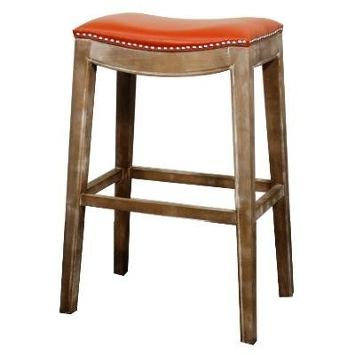 New Pacific Direct Elmo Bonded Leather Bar Stool,Distressed Gray - Bonded Leather Stool
