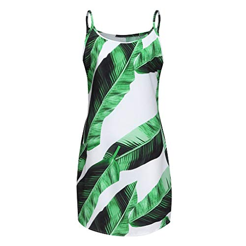 Summer Dresses for Women Short,SMALLE◕‿◕Women Casual Halter Neck Boho Floral Print Beach Mini Dress Party Green