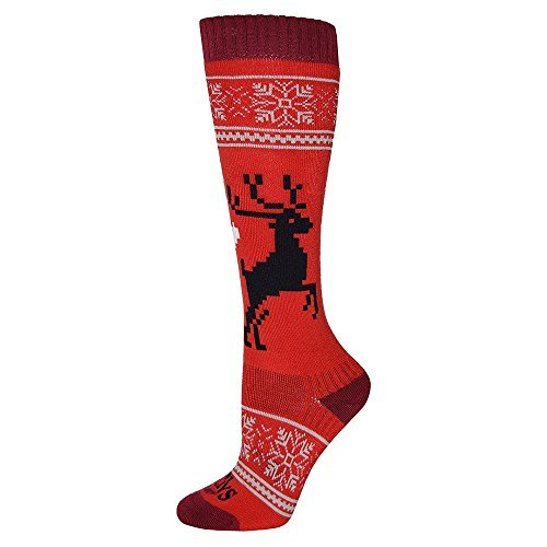 Hot Chillys Womens Socks - Hot Chillys Holiday Fever Mid Volume Ski Sock Womens