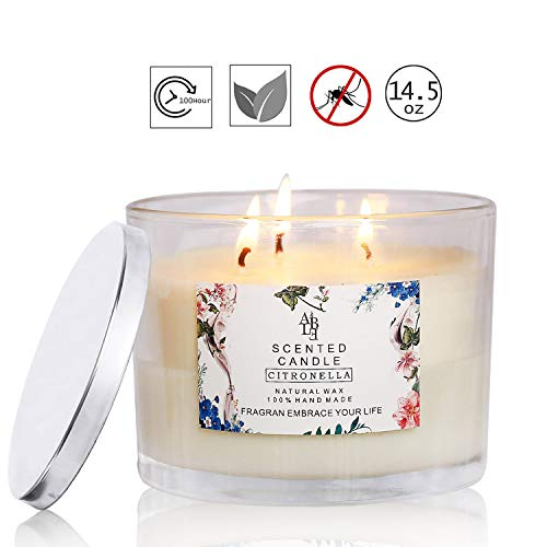 YUCH Citronella Candle Outdoor Indoor Aromatherapy Stress Relief Pure Soy Wax 3-Wick Scented Candles 60-70 Hour Burn Highly Scented Long Lasting (14.5 Ounce, Glass)