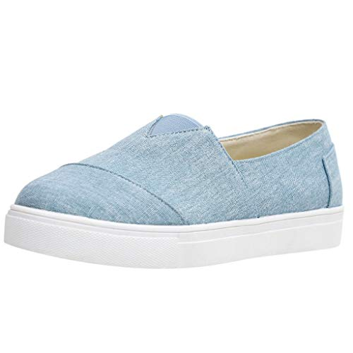 Pongfunsy Womens Canvas Shoes, Summer Casual Flat Shoes Lazy Comfy Sport Walking Shoes Outdoors Sneakers for Students Light Blue