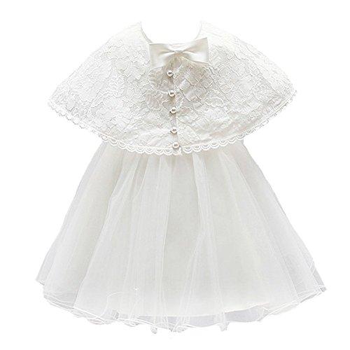 Mini Kitty Baby Girls Dresses Christening Formal Dress,White,12-15Month
