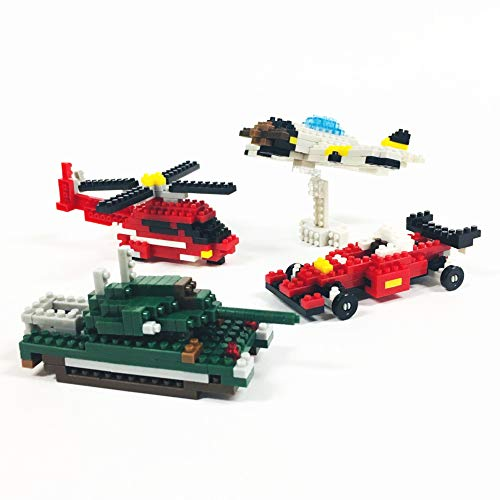 Helicopter Block - DAISO INDUSTRIES CO.,LTD. Petit Block Working Vehicles Series | Helicopter and Tank with Propeller Plane Race Car, 4 Types Toys Sets, Enjoy from Adults to Children, for Kids