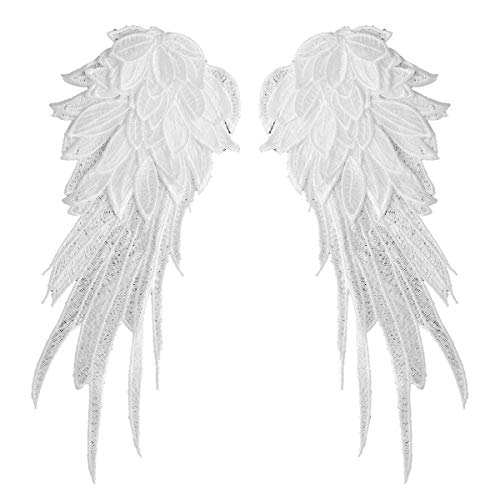 Angel Wings Dolls - Freebily 1 Pair Embroidered Patch Fabric Iron-on or Sew-on Patches Badges Angel Wings Applique for Clothing Jackets Backpacks Jeans Baseball Cap White Small