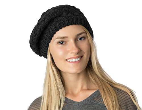 bed Knit Beanie Beret Hat for Women, Double Layers (Black Basket Weave) (Basket Weave Charcoal)