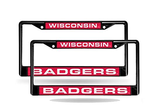 Rico Wisconsin Badgers Black Metal (2) Laser License Plate Frame - Plate Badgers Frame License Wisconsin
