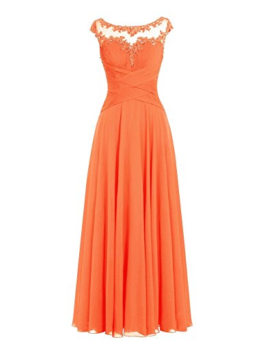 Chiffon Brautjungfernkleider A Lang Orange Ballkleider Abendkleider Hochzeitskleider Linie nqw15nIXx