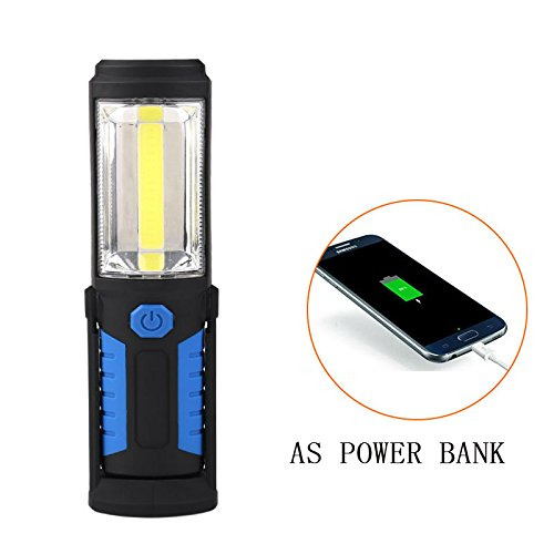 Winnes New Portable USB Rechargeable COB LED Torch Torch Work Light Magnetic Base Stand Hanging Lamp