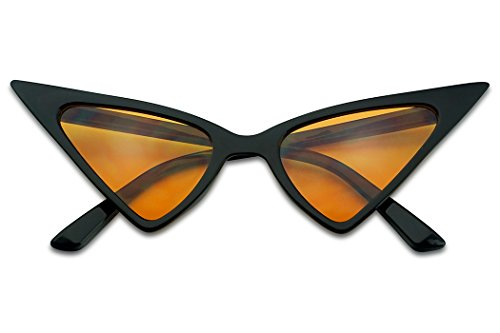 SunglassUP Exaggerated High Pointed Tip Rockabilly Cat Eye Slim Vintage Sunglasses (Black Frame | Orange) -