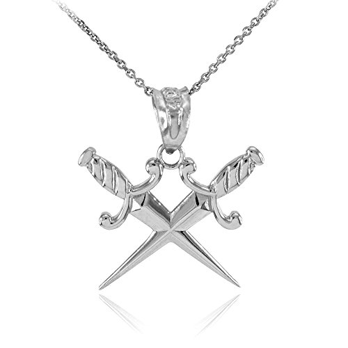 Charm Dagger Pendant (Polished 925 Sterling Silver Crossing Daggers Charm Pendant Necklace, 18