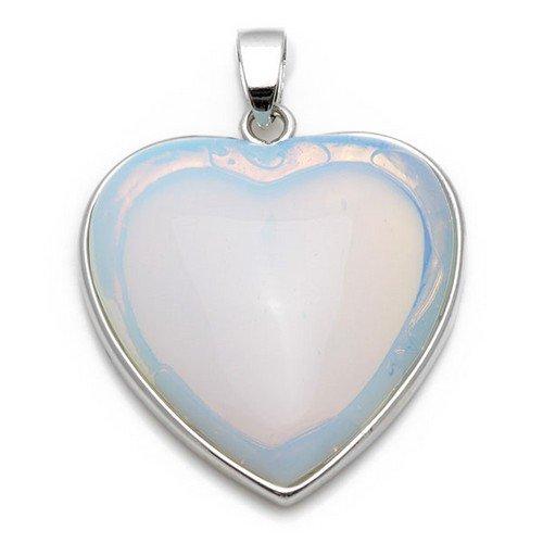 (1 x Clear Opalite 33 x 35mm Pendant (Heart) - (CB24200) - Charming Beads)