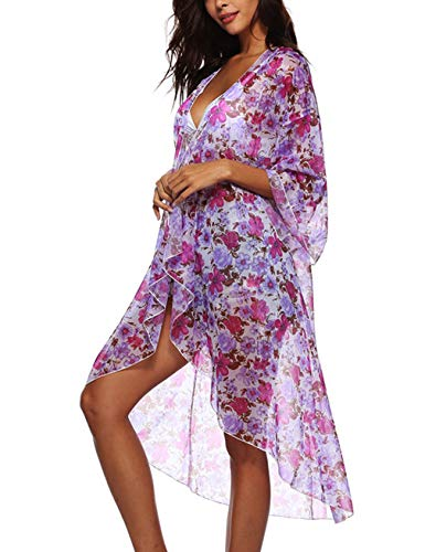 Womens Long Sleeve Floral Beach Kimono Swim Cover Waterfall Long Chiffon Duster Cardigan Purple - Liberty Print Blouses