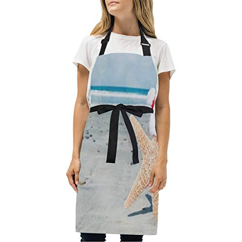 HJudge Womens Aprons Beach Christmas Cute Kitchen Bib Aprons with Pockets Adjustable Buckle on Neck