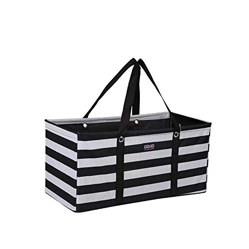 (Large Collapsible Rectangle Container Utility Tote Bag (Multiple Colors/Prints) (R-003 Horizontal Black/White Stripes))