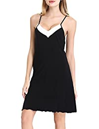 Womens cotton Chemise Sleepwear Slip Nightgown Sling Dress by NORA TWIPS(XS-XL)
