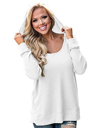 (Chvity Women's Long Sleeve Tops Waffle Knit Casual Sweaters Novelty Hoodie Sweatshirt Pullover Solid Fall Shirts White L)