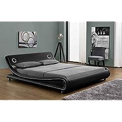 Bedroom Amolife Modern Upholstered Queen Size Bed Frame with Extra Speaker Space/Deluxe Solid Speaker Platform Bed/Mattress… modern beds and bed frames