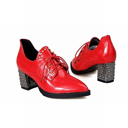 Show Shine Womens Chic Rivetti Scarpe Con Tacco Grosso A Punta Oxford Rosso