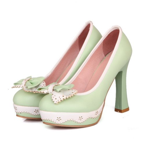 VogueZone009 Womens Closed Round Toe High Heel Platform Soft Material PU Solid Pumps with Bowknot Green zwzFOD
