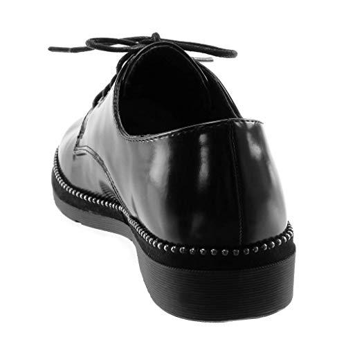 3 Noir Femme CM Angkorly clouté Chaussure Talon Mode Derbies Bloc qvWHf0