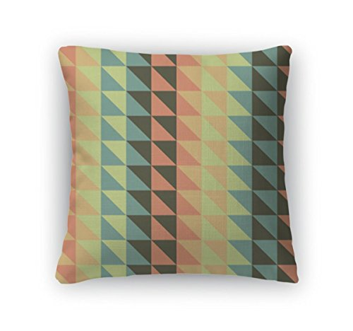 Turquoise Striped Wallpaper (Gear New Throw Pillow Accent Decor, Colorful Stripes Lines With Triangles And Diamond Shapes Creates Zigzag Chevron, 20