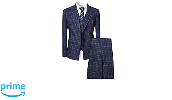 796bca6f8804 Men's Clothing Mens Blue Slim Fit 3 Piece Checked Suits Double Breasted  Vintage Fashion YDW6187
