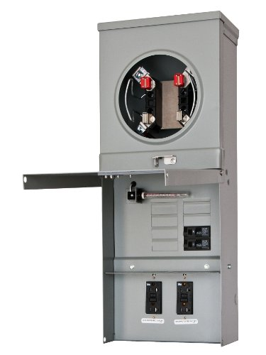 Siemens TL77NT Talon Temporary Power Outlet Panel with Two 20A Duplex Receptacles Installed Includes a Top Fed, Ring Type, Meter Socket Provision