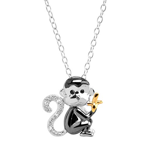 (Monkey & Banana Pendant Necklace with Diamonds in Three-Tone Sterling Silver)