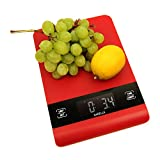 Sarelle UltraThin Digital Food Scale 15lb/7kg Capacity, Red - Electronic Kitchen Scale with Extra Large LCD Display