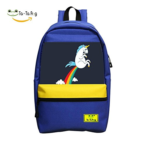 Funny Unicorn Fart Rainbow Cloud School Bag Student Backpack for Children Blue