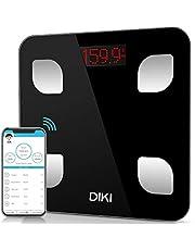 Bilancia Pesapersone Digitale Bluetooth DIKI Alta Precisione Bilancia da Bagno, Bilancia Diagnostica, Utenti Illimitati, Misura 8 Parametri Corpore, Tecnologia Step-on (Nero)